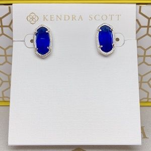 New Kendra Scott Ellie Silver Cobalt Cats Eye